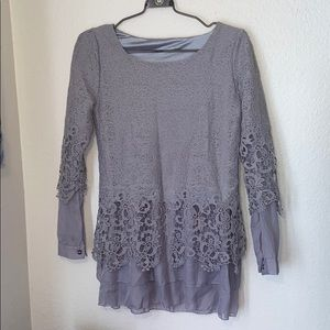 Tops - Long sleeve lace detail grey blouse